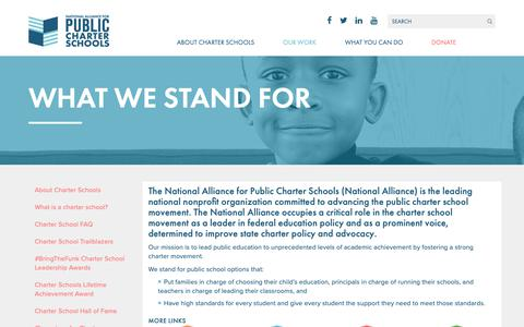 Screenshot of About Page publiccharters.org - What We Stand For | National Alliance for Public Charter Schools - captured Oct. 18, 2018