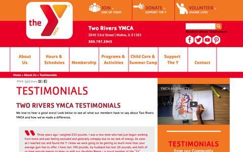 Screenshot of Testimonials Page tworiversymca.org - Two Rivers YMCA - captured Dec. 7, 2016