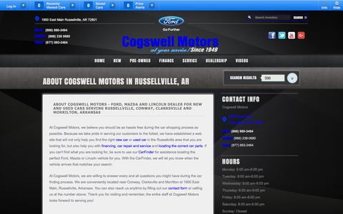 Screenshot of About Page cogswellmotors.com - Ford Lincoln Mazda Car Dealership | Russellville, AR - captured Jan. 29, 2016