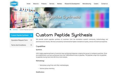 Screenshot of Services Page usvindia.com - Custom peptide synthesis | Solid phase peptide synthesis - USV India - captured Dec. 27, 2018