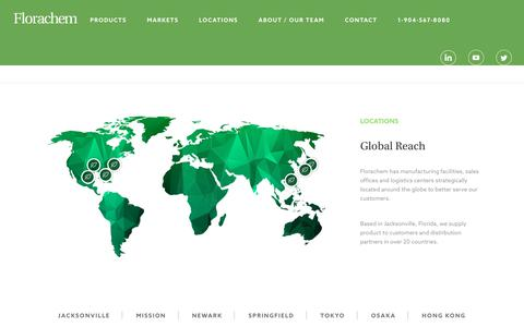 Screenshot of Locations Page florachem.com - Limonene Alternatives | Green Solvent | Florachem Locations - captured Oct. 14, 2017
