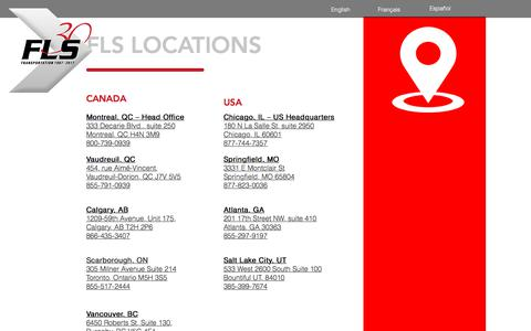Screenshot of Locations Page flstransport.com - Locations | North America | FLS Transportation Services - captured Oct. 13, 2017