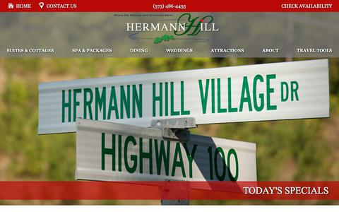 Screenshot of Contact Page Maps & Directions Page hermannhill.com - Directions to Our B&B Lodging in Hermann MO - captured July 3, 2018