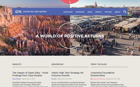 Screenshot of Home Page omidyar.com - Home | Omidyar Network - captured Oct. 1, 2015