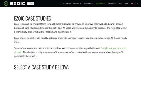 Screenshot of Case Studies Page ezoic.com - Ezoic Case Studies | See Published Ezoic Case Studies - captured Jan. 18, 2020