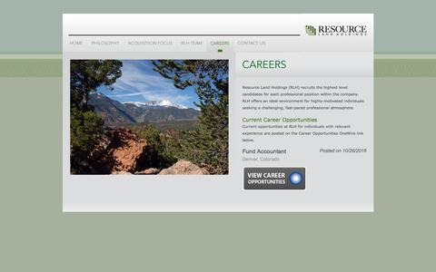 Screenshot of Jobs Page rlholdings.com - Resource Land Holdings  ::  Careers - captured Dec. 1, 2016