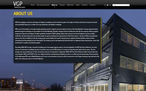 Screenshot of About Page vgp.cz - Developer of industrial parks - About us - captured Oct. 6, 2014
