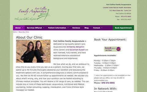 Screenshot of About Page ftcollinsfamilyacupuncture.com - Learn About Fort Collins Family Acupuncture Clinic - captured Oct. 10, 2018