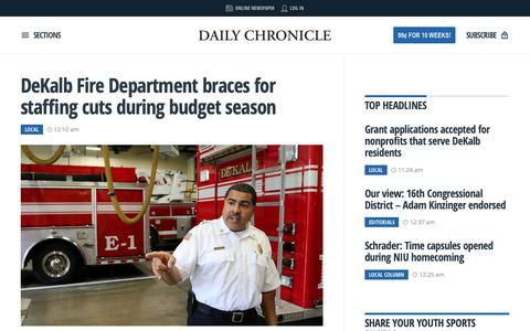 Screenshot of Home Page daily-chronicle.com - Daily, local and breaking news for DeKalb County, Illinois | Daily Chronicle - captured Oct. 19, 2018