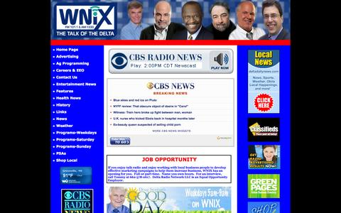 Screenshot of Home Page wnixradio.com - WNIX Radio - WNIX Radio - The Talk of the Delta - captured Oct. 9, 2015