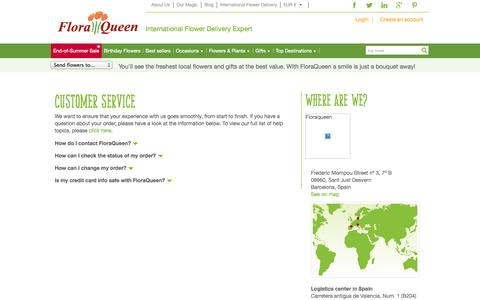 Screenshot of Support Page floraqueen.com - Customer Service - Flower deliveries - captured Sept. 23, 2014