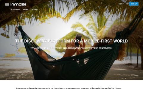 Screenshot of Home Page inmobi.com - InMobi | Mobile Discovery Commerce | Monetization | Advertising - captured Dec. 14, 2015