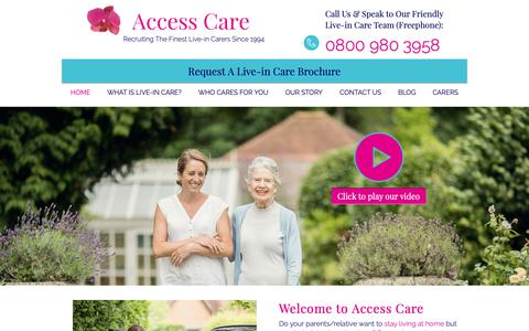 Screenshot of Home Page access-care.co.uk - Live-In Care | Access Care - captured Oct. 2, 2018