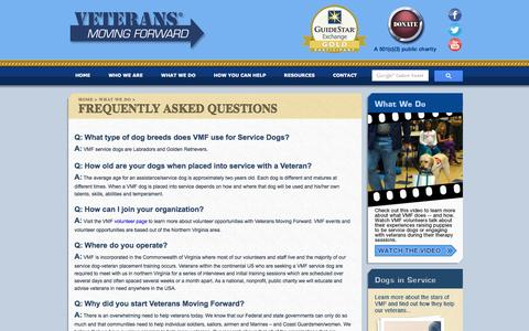 Screenshot of FAQ Page vetsfwd.org - Veterans Moving Forward - Provide service dogs to veterans with physical and mental health challenges - captured Dec. 19, 2016