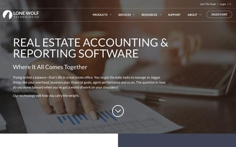 Screenshot of Products Page lwolf.com - Real Estate Accounting & Reporting Software | Lone Wolf Technologies - captured Oct. 26, 2017