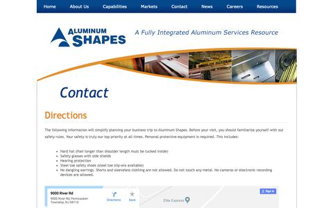 Screenshot of Maps & Directions Page shapesllc.com - Contact – Aluminum Shapes - captured Oct. 3, 2018