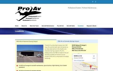 Screenshot of Locations Page proavflightservice.com - Pro Av   –  Locations - captured Sept. 30, 2014