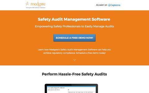 Screenshot of Landing Page medgate.com - Safety Audit Management Software - captured June 8, 2017