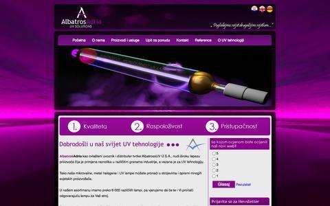 Screenshot of Home Page albatros-adria.hr - AlbatrosAdria - UV solutions | Lampe za UV sušenje, Grafièke lampe, UV lampe za sušenje laka,  za optièke medije,  za sitotisak, Ink-jet UV lampe, Metal – halogene, e za ispis na bocama i èašama,  za lakiranje drvene površine - captured Sept. 30, 2014