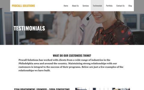 Screenshot of Testimonials Page procallsolutions.com - Testimonials - Procall Solutions - captured Sept. 29, 2018