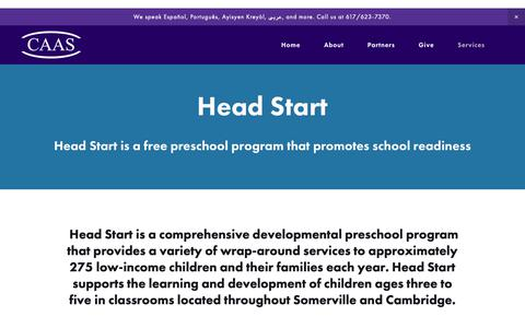 Screenshot of Services Page caasomerville.org - Head Start — Community Action Agency of Somerville - captured Sept. 29, 2018