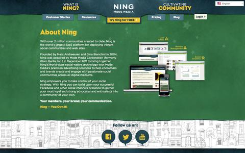 Screenshot of About Page ning.com - About Ning | Ning.com - captured June 16, 2015