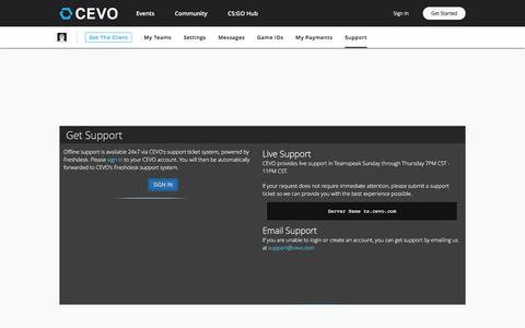 Screenshot of Support Page cevo.com - CEVO - Empowering Gamers, Growing Communities - captured July 1, 2017