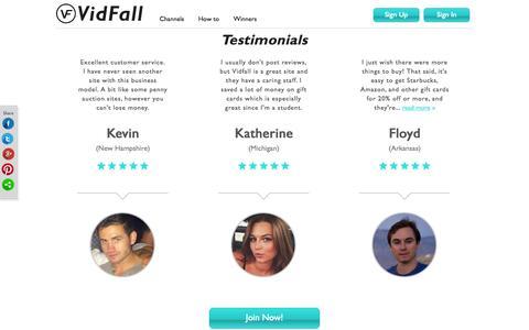 Screenshot of Testimonials Page vidfall.com - VidFall - Testimonials Main - captured Dec. 17, 2014