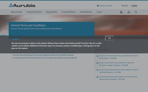 Screenshot of Terms Page aurubis.com - General Terms and Conditions - captured May 30, 2018
