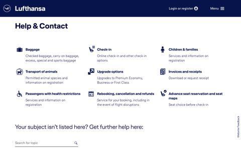 Screenshot of Support Page lufthansa.com - Help & Contact - captured Nov. 12, 2018