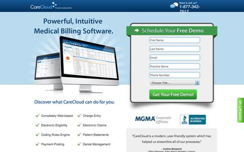 Screenshot of Landing Page carecloud.com - Medical Billing Software - Medical Billing Service | CareCloud - captured Sept. 27, 2016