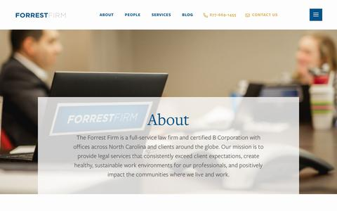 Screenshot of About Page forrestfirm.com - About - Forrest Firm - captured July 11, 2019