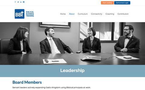 Screenshot of Team Page b-b-t.org - Leadership | BBT - captured July 17, 2018