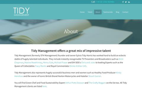 Screenshot of About Page tidymanagement.com - Tidy Management (formerly STH Management) Exclusive Representation - captured March 4, 2018