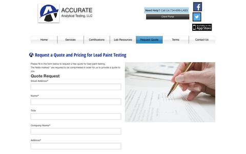 Screenshot of Pricing Page accurate-test.com - Lead Paint Laboratory Lab Test Services, Accurate Analytical Testing, Michigan - captured Nov. 12, 2018
