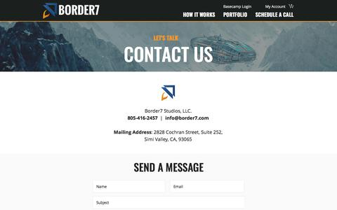 Screenshot of Contact Page border7.com - Contact Us | California | Border7 Studios - captured July 19, 2019