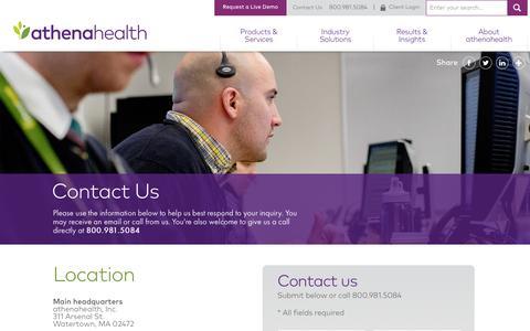 Screenshot of Contact Page athenahealth.com captured Nov. 13, 2015