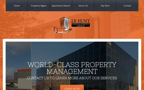 Screenshot of Home Page lbhunt.com - Utah Property Management | LB Hunt Management Group - captured July 1, 2018