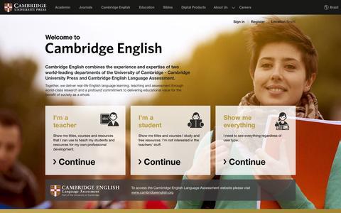Screenshot of Home Page cambridge.org - Cambridge English | Cambridge University Press - captured Sept. 16, 2015