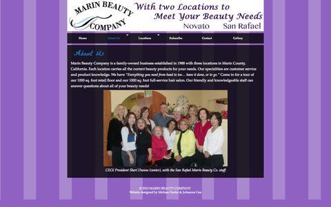 Screenshot of About Page marinbeautycompany.com - About Us »  MARIN BEAUTY COMPANY - captured Sept. 30, 2014