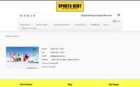 Screenshot of Contact Page sportsrent.ca - Contact Sports Rent - captured Oct. 20, 2018