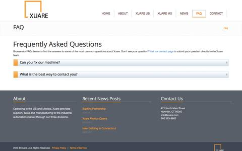 Screenshot of FAQ Page xuare.com - Frequently Asked Questions   Xuare - captured Oct. 27, 2014