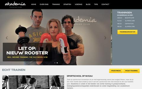 Screenshot of Home Page akademiatraining.nl - Sportschool Amsterdam Oost gezocht? Probeer nu echte training! - captured Dec. 24, 2015