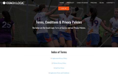 Screenshot of Terms Page coach-logic.com - Terms and Conditions | Coach Logic - captured July 19, 2018