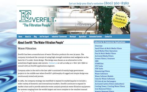 Screenshot of About Page everfilt.com - Industrial and Commercial Water Filtration Systems | Everfilt - captured Sept. 30, 2014