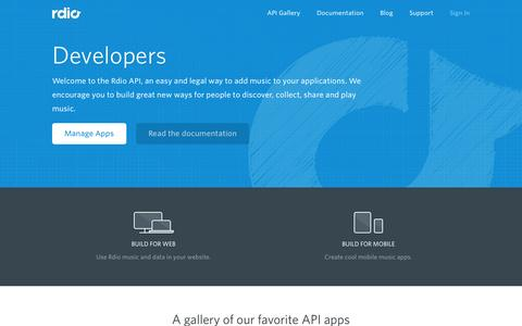 Screenshot of Developers Page rdio.com captured Oct. 28, 2014