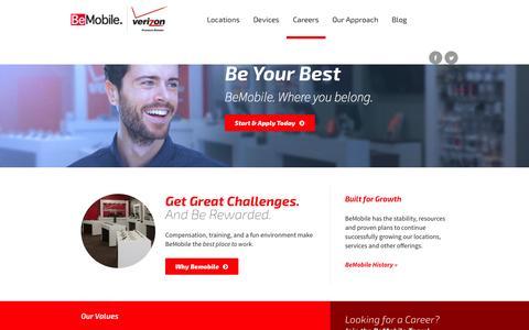 Screenshot of Jobs Page bemobile.com - Careers | BeMobile - captured Oct. 5, 2014