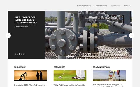 Screenshot of Home Page whiteoakenergy.com - White Oak Energy – Engineering based company whose growth is derived from targeted acquisitions and operational enhancement. - captured Oct. 20, 2018