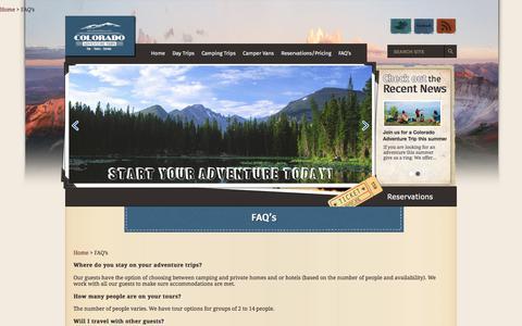 Screenshot of FAQ Page coloradoadventuretrips.com - Colorado Adventure Trips   FAQ's - captured July 20, 2018