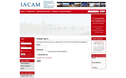 Screenshot of Login Page iacam.org - International Association of CPAs, Attorneys, and Management (IACAM) - captured Oct. 3, 2014